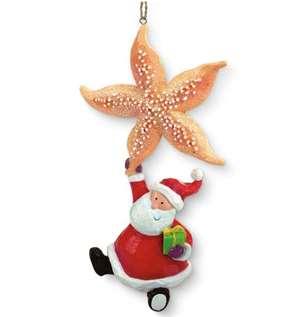 Cape Cod Santa & Starfish Ornament